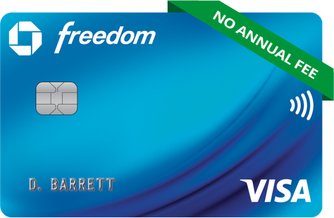 Chase Freedom Credit Card. Contactless icon. VISA